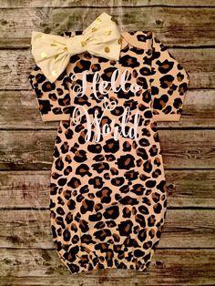 Hello World Leopard Baby Gown - BellaPiccoli
