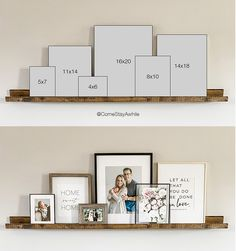 Picture Shelves, Diy Picture Rail, Family Picture Collages, Display Family Photos, Picture Frame Decor, Picture Stand, Photo Collages, Collage Photo, Wall Decor Pictures