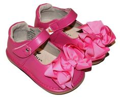 MOOSHU Trainers Squeeker Shoes Add A Bow Hot Pink Mary Jane New Style Sz 3-4