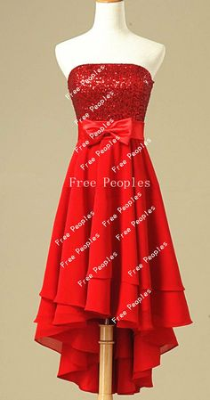 Cheap Red A line Strapless Sleeveless Corset Back High Low Homecoming dress, cheap short prom dress 2013, formal dresses on Etsy, $148.99