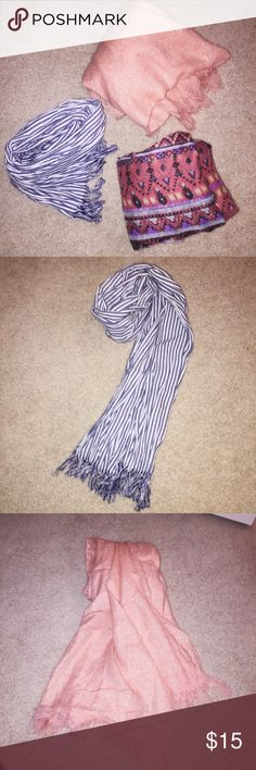 Scarf Bundle Three scarfs included within this bundle. Great condition, barely used. The first scarf is white and baby blue, the second is a light pink with gold sparkles, and the last scarf is a mix of colors; primarily yellow, purple, and green. 🚫Lowballs 🚫Trades 🚫PayPal Accessories Scarves & Wraps