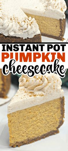 Instant Pot Pumpkin Cheesecake is made with pumpkin puree and is pressure cooked to the most moist delicious dessert that is then elevated to the next level with a cinnamon whipped cream. It's the perfect holiday dessert. Instant Pot Cheesecake Recipe, Pumpkin Cheesecake Recipes, How To Make Cheesecake, Pumpkin Recipes, Cheesecake Desserts, New Year's Desserts, Cute Desserts, Christmas Desserts, Dessert Recipes