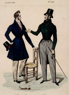 Men's dress, 1834 France, Petit Courrier des Dames
