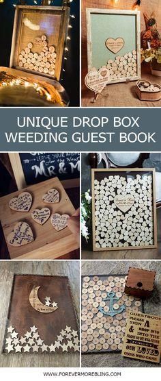 3 Etsy Wedding Guest Book Alternative Personalized Drop box Hearts GuestBook Unique#guestbook #weddingideas