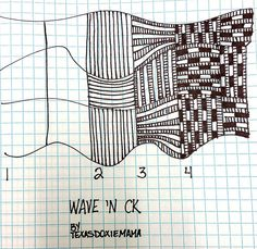 Wave 'N Ck by Texasdoxiemama~Zentangle Tangle Doodle, Tangle Art, Zen Doodle, Doodle Art, Zentangle Drawings, Doodles Zentangles, Doodle Drawings, Doodle Patterns, Zentangle Patterns