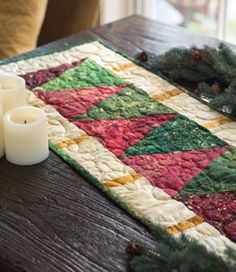 Wedge Tree Runner - miniature quilt project - Quilting Quickly - Winter 2013 tree table runner