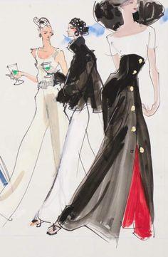 By Kenneth Paul Block, 1 9 8 8, models in resort wear by Calvin Klein, Anne Klein, Donna Karan, Women's Wear Daily.