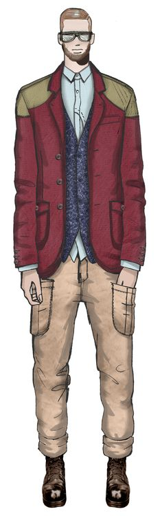 Joe, London... Jaa Design original fashion illustration.