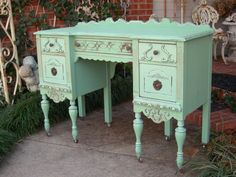Shabby Antique Desk Console Table Chic Aqua For by RedBarnEstates, $sold ~ visit my shop on etsy.