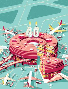 40 years of charles de gaulle airport - anniversary illustration by vincent mahé