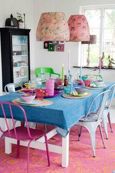 Rice / dining room. Denim tablecloth? Love!