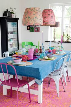 Rice / dining room. Denim tablecloth? Love!