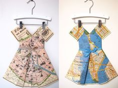 Paper Dresses Made From Vintage Maps Are Memorable Modern Decor . Vintage Maps, Vintage Green, Skirt Tutorial, Cut Work, Dress Making, Modern Decor, Wrap Dress, How To Memorize Things, Summer Dresses
