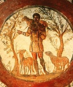 The Good Sheppard: an ancient work of art depicting Jesus (as he is called today). Jesus was called Yah-Zeus (during Roman times), with merging of the Hebrew god, YHWH, and the Greco-Roman god Zeus.
