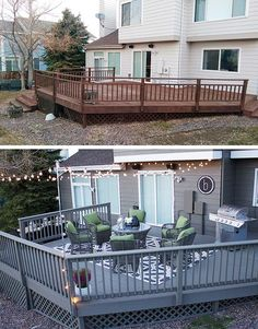 Look at this deck makeover before and after! Katy Byrne of DBK: Designs By Katy shows how easy it is to make a big impact on your outdoor space. Fresh paint, string lights and new patio furniture made all the difference on her back deck. See her patio mak Deck Makeover, Deck Colors, Patio Deck Designs, Deck Decorating, Outdoor Patio Decorating, Outdoor Living, Outdoor Decor, Outdoor Patio Lighting, Decks And Porches
