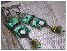 """Boucles d'oreille""""Les princesses bohèmiennes""""perles tchèques,métal filigrané,oxydé,patiné et cristal : Boucles d'oreille par rare-et-sens"""
