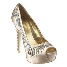 "Platform peep toe pump dripping with sequins.  5 1/4"" heel with 1 1/4"" platform"