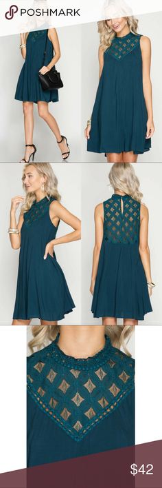 "🆕Sleeveless High Neck Swing Dress with Lace Yoke Sleeveless lace yoke front & back with keyhole button closure at back.  Swing dress with full lining.   Color: Teal.      Size: S-M-L.        Length: 34""-34 1/2""-35"".    Chest (Armpit to Armpit): 17 1/2""-18""-18 1/2"" Classic Paper Doll Dresses Mini"
