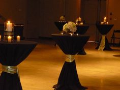 White and Gold Wedding. Cocktail tables with black linens