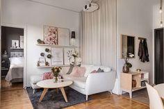 Маленькая девичья квартира с отдельной спальней и террасой (36 кв. м) | Пуфик - блог о дизайне интерьера