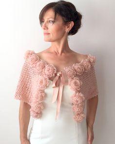 Abrigo de mohair capa nupcial rosa cabo chal champagne