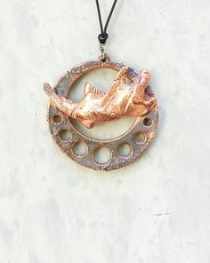 Real Muskrat Jaw Bone Copper Oddities Pendant. by CleverKimsCurios