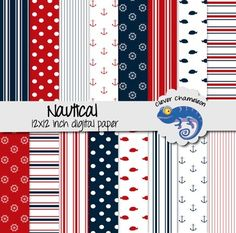 Nautical Mix Digital Paper Pack  12 inches x 12 inches  Stripes, dots, anchors, wheels and fish feature in these red, navy and white designs.You will receive one zipped file containing the 16 printable digital papers. Download the zipped file from TPT, then double click or right click to extract the folder containing the files.DESCRIPTION:THIS IS A DIGITAL FILE 12 by 12 digital scrapbook papers 300 DPI .jpg files Personal and small commercial use onlyUse these papers for making colorful ...