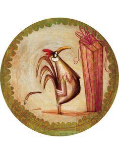 """Le cadeau du coq"" - by Anna Laura Cantone Anna, Sculpture Painting, Coq, Illustration Art, Art Illustrations, Illustrators, Rooster, Decoupage, Fairy Tales"