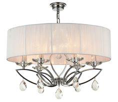 6 Bulbs x Crystal Pendant, Pendant Lamp, Modern Chandelier, Fabric Shades, Lampshades, Elegant, Chrome, Ceiling Lights, Ceiling Lamp