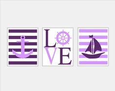 Purple Nautical Wall Art Sailboat Love by SilverPenguinPrints