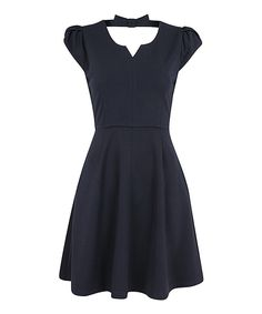 Navy Cutout Bow Back Dress by Louche