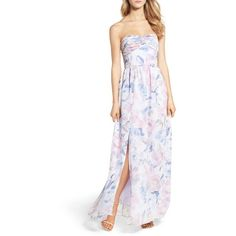 Women's Plum Pretty Sugar Floral Strapless Gown ($198) ❤ liked on Polyvore featuring dresses, gowns, veiled, strapless gown, strapless dresses, floral evening gown, long floral skirts and floral ball gown