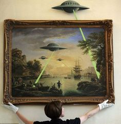Banksy, gallery painting, landscape with alien spaceships