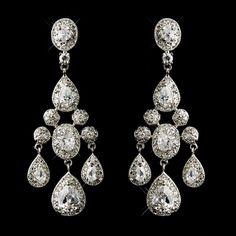 1068dc74d4d Antique Silver CZ Crystal Wedding Chandelier Earrings - just regal!  affordableelegancebridal.com Bridal Jewelry