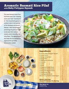 Aromatic Basmati Rice Pilaf with Baby Pattypan Squash (omit yogurt)