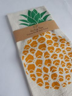 Kitchen Towel Hand Printed Pineapple Natural by TheHighFiber
