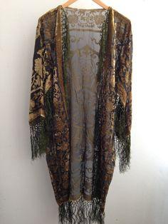 30% DE DESCUENTO Terciopelo de Boho Kimono verde gitana