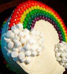 Skittles and Marshmallow Rainbow Cake
