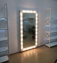 Showroom mirror,vanity mirror with lights,Makeup mirror,Hollywood vanity mirror,Mirror with li Diy Makeup Lighting, Makeup Mirror With Lights, Bathroom Lighting, Vanity Lighting, Floor Mirror With Lights, Lighting Ideas, Hollywood Mirror, Diy Room Decor For Teens, Teen Room Decor