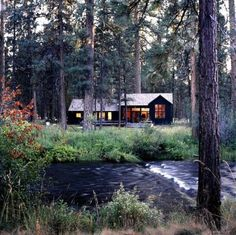 Cabin on a creek bank for fishing