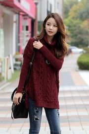 Turtleneck Long Knit   Korean Fashion