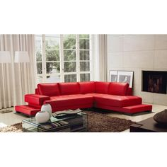 Hokku Designs Ruby 2 Piece Leather Sectional Sofa Set in Red