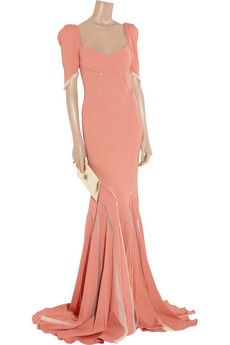 Zac Posen Stretch satin-crepe fishtail gown -- I know -- unusual color; but very alluring! Valentino, Givenchy, Balenciaga, Zac Posen, Marchesa, Elie Saab, Pretty Dresses, Beautiful Dresses, Zuhair Murad