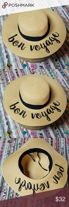 Natural Embroidered Bon Yogage Wide Brim Hat NWT 100% Paper Embroidered message: Bon Voyage Wide Brim Adjustable UV Protection This Seasons Hottest Hat! A must have for the boat or beach⛵⛵⛵ Natural/Black Accessories Hats