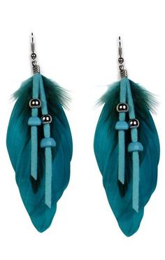 leather beaded feather earring, also available in black