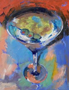 Martini Picture Option to paint at a paint and wine party.
