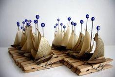 3 Segelboot - Wäscheklammern mit Treibholz