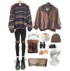 Love the sweater, kinda oldie look with a bit of earthy tones. Jeans are fantastic, yet I'd still wear it with a pair of vans. Idk about the jacket, it's meh