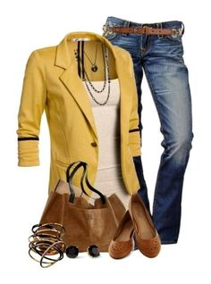 cute jacket with an easy tank layering piece. just says fall.
