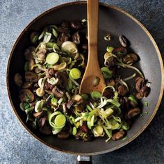 Stir the mushrooms and leeks frequently enough so they caramelize without burning, then serve on top of steak.